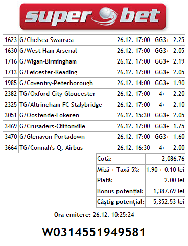 Biletul zilei Hunter 26.12.2013 - bilet bomba