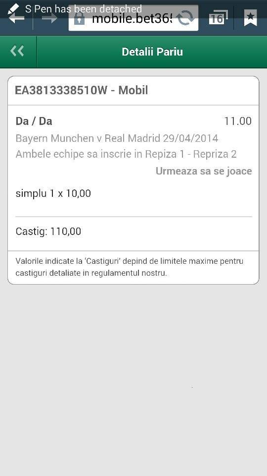 Bilet Laurentiu Bayern - Real Madrid cota 11!