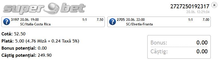 Bilet Hunter Mondial 20.06.2014 - pauza/final si scor corect