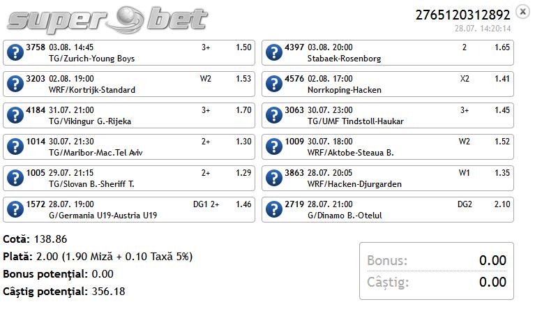 Bilet Saptamanal(1) Hunter 28.07.2014