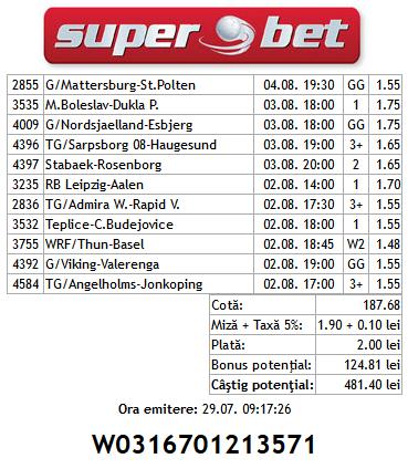 Bilet Saptamanal Hunter 30.07.2014