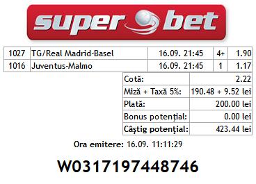 Bilet Hunter 16.09.2014 - cota 2 Champions League