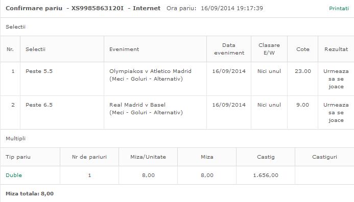 Bilet Hunter 16.09.2014 - Nebunie Champions League