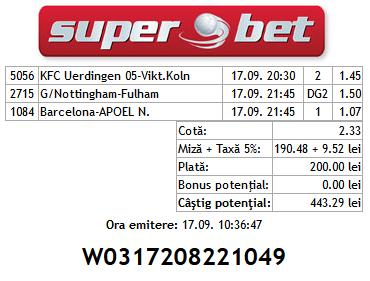 Bilet Hunter 17.09.2014 - cota 2 Champions League