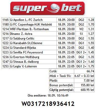Bilet Hunter 18.09.2014 - Europa League