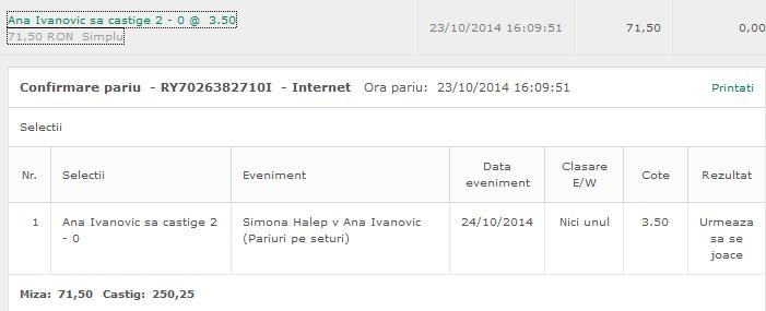 Bilet Hunter 24.10.2014 - tenis