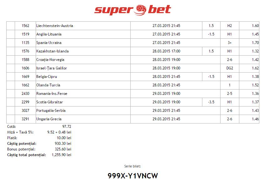 Bilet Hunter 25.03.2015 - calificari Euro