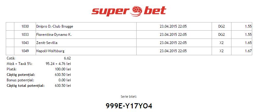 Ponturi Hunter 23.04.2015 - Europa League