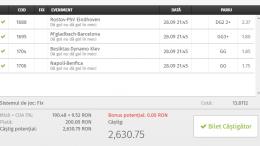 Bilet Vip cu castig 2630 lei in Champions League