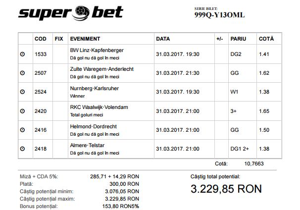 Biletul Zilei Fotbal 31.03.2017 - Cota 2