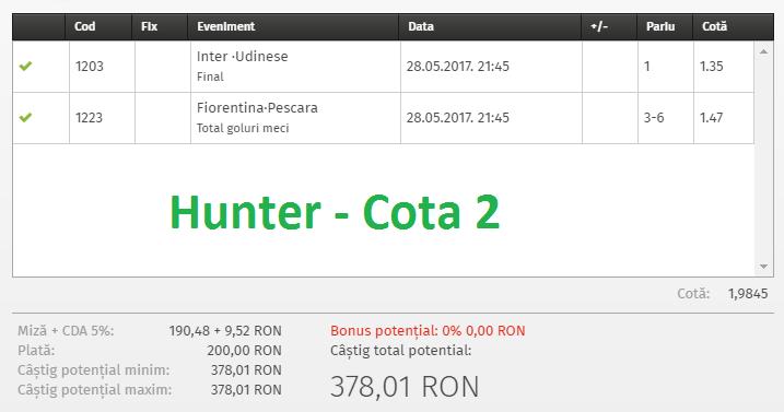 Biletul Zilei Fotbal 28.05.2017 - Cota 2