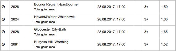20 ponturi fotbal 28.08.2017 pentru biletul zilei