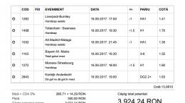 Biletul Zilei Pariuri 16.09.2017 - cota 13