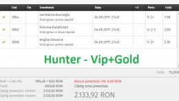 Bilet Hunter cu castig 2130 lei - 05.09.2017