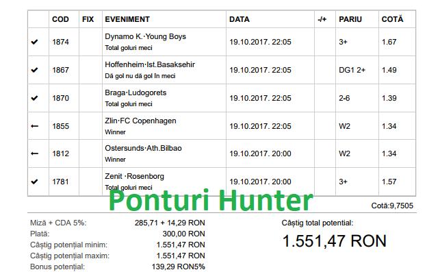 Bilet Hunter cu castig 1550 lei - 20.10.2017