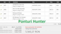 Bilet Hunter cu castig 5560 lei - 21.10.2017