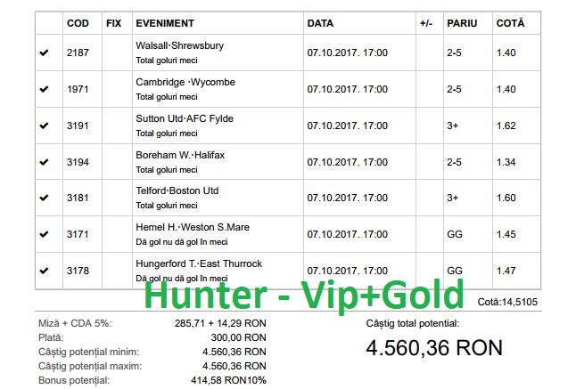 Bilet Hunter cu castig 4560 lei - 08.10.2017