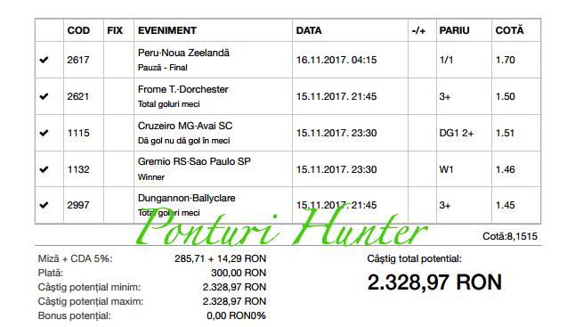 Bilet Hunter cu castig 2320 lei - 16.11.2017