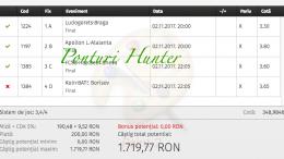 Bilet Hunter cu castig 1700 lei - 03.11.2017