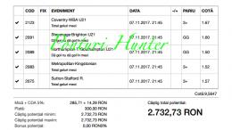 Bilet Hunter cu castig 2730 lei - 08.11.2017