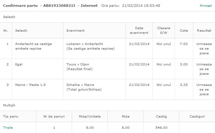 Biletul Zilei Online(2) Hunter 21.02.2014
