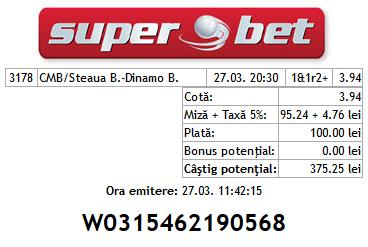 Bilete Hunter 27.03.2014  Steaua - Dinamo