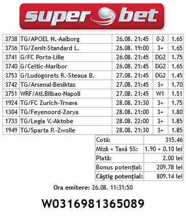Bilet Hunter 23.08.2014 - cupe europene