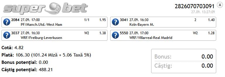 Bilet Hunter 27.09.2014 - cota 4.82