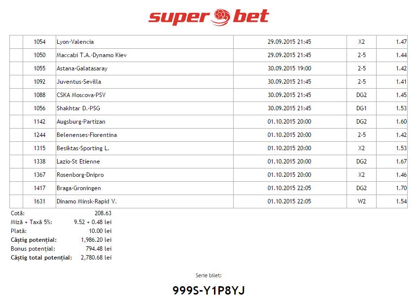 Bilet Hunter Cupe Europene - 29.09.2015 - cota 208