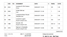Biletul Zilei Pariuri 09.08.2017 - cota 10
