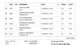 Biletul Zilei Pariuri 21.09.2017 - cota 10