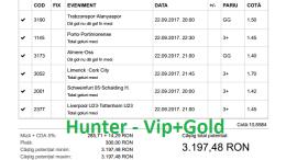 Bilet Hunter cu castig 3190 lei - 23.09.2017