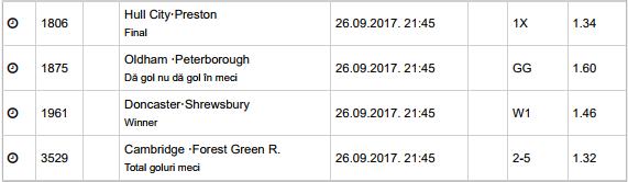 20 ponturi fotbal 26.09.2017 pentru biletul zilei