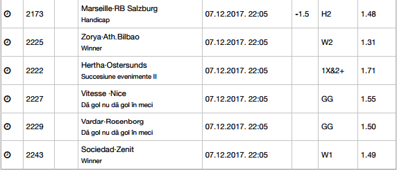 22 ponturi Europa League 07.12.2017 pentru biletul zilei