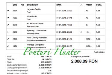 Bilet Hunter cu castig 2.000 lei - 01.02.2018