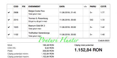 Bilet Hunter cu castig 1.150 lei - 11.06.2018