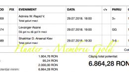 Profit de 9.393 cu biletele gold in 29.07.2018