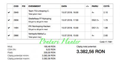 Bilet Hunter cu castig 3.300 lei - 14.06.2018