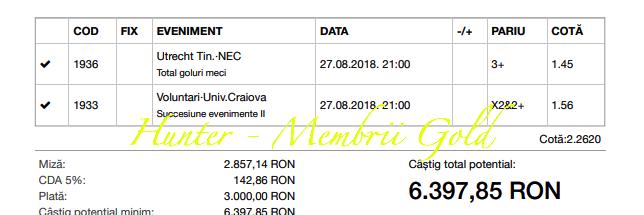 Profit de 10.505 cu biletele gold in 27.08.2018 - profit in August de 81.000