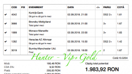 Bilet Hunter cu castig 1980 lei - 02.09.2018