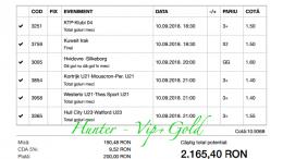 Bilet Hunter cu castig 2160 lei - 10.09.2018