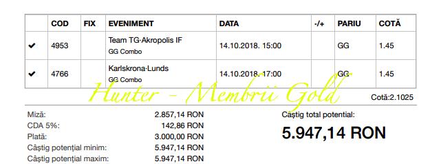 Castig 22.792, toate biletele gold sunt verzi - 14.10.2018