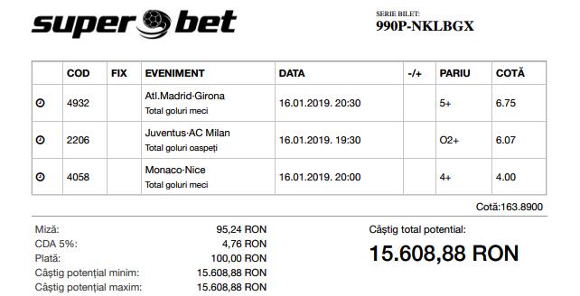 Biletul Bomba de azi 16.01.2019