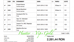Bilet Vip+Gold cu castig 2260 lei