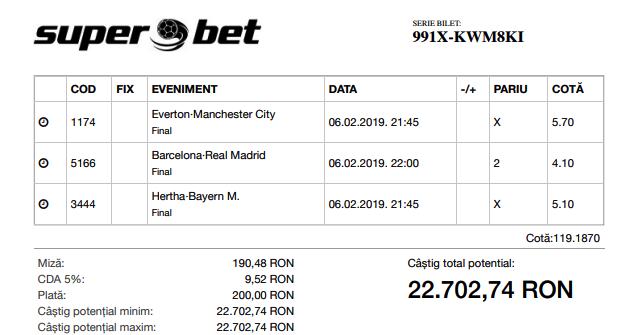 Biletul Bomba de azi 06.02.2019