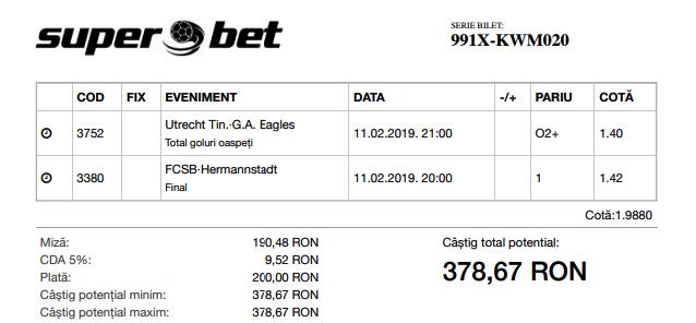 Biletul Zilei 11.02.2019 - Cota 2
