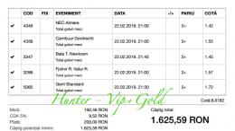Bilet Vip+Gold cu castig 1625 lei
