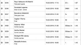 30 ponturi fotbal 16.02.2019 pentru biletul zilei