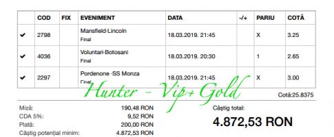 Bilet Vip+Gold cu castig 4872 lei