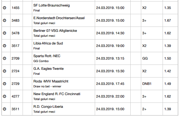 25 ponturi fotbal 24.03.2019 pentru biletul zilei
